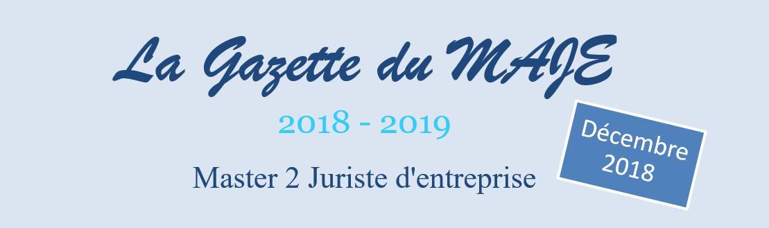 Gazette du MAJE n°11 – Décembre 2018